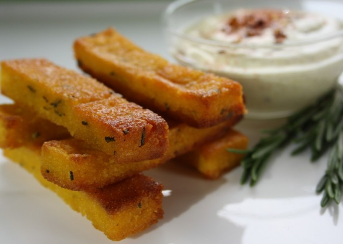 Gluten Free Rosemary Orange Polenta Fries with Curry Mayo