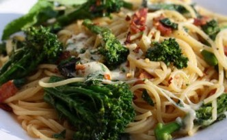 Bacon Broccolini Gluten Free Pasta with Buffalo Mozzarella Cheese