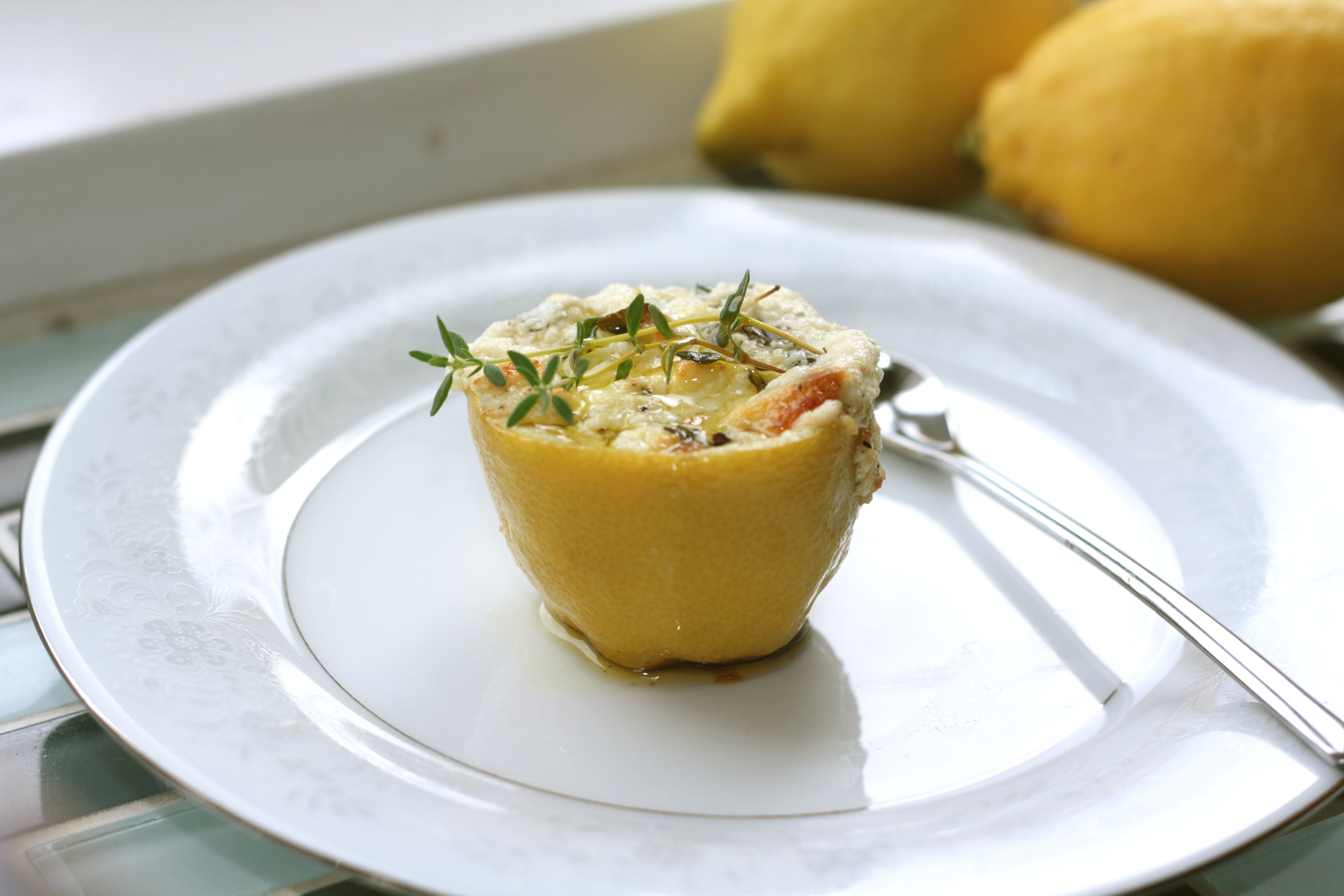 Baked Herb Goat Cheese Lemon Pots