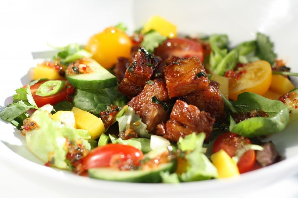 Gluten Free Sticky Pork Belly Salad